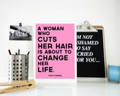 Print A Woman Who Cuts Her Hair Coco Chanel Motivational Quote Poster in Pink Inspirational Quote - Change Your Life Quote - Gift For Her