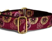"Pom Pom Brocade in Plum Martingale Collar (1.5"" & 2""), Dog Collar, Greyhound Collar, Custom Dog Collars"