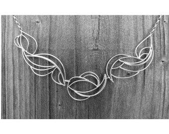 Flowing Abstract Necklace, Hand-made to order, Choose your metal, Length 22""