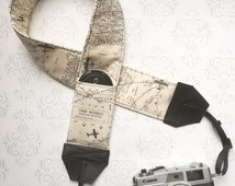 DSLR Camera Strap, Extra Long, Padded with 2 Lens Cap Pockets, Nikon, Canon, DSLR Photography, Photographer Gift - Maps