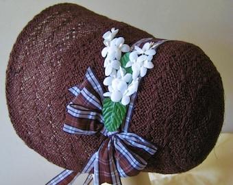 Regency/Victorian Straw Bonnet. Jane Austen. Handmade, Chocolate Brown, Ivory Trims.