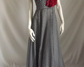 Black and White Checked Gingham  60's/7 0's Halter Maxi with Red Rose Detail