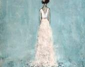 Figure Painting Bride painting daughter painting Ballroom Dancer textured Figurative Serenity  11 x 14  Swalla Studio