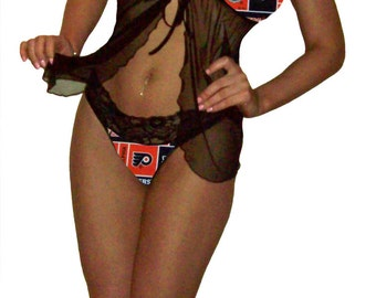 Philadelphia Flyers Lace Babydoll Negligee Lingerie Teddy Set - XL Extra Large to 2X Plus Size - Please READ SIZING Info - Also in White