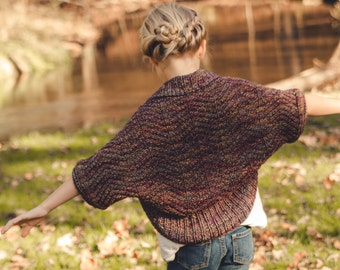 PDF KNITTING PATTERN file for Bulky weight girls cocoon cardigan or shrug