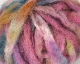 Wensleydale Roving Spinning and Felting Fiber Hand Dyed Farm Fiber 4.2oz Colorway- Horizon