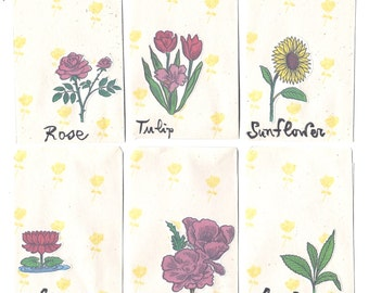6 FLOWERS ENVELOPES - Unique and handmade FLOWER Spanish stickers attached on vintage small envelopes