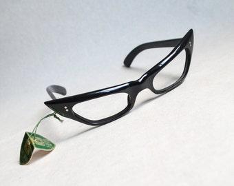 1950s Black cat eye spectacle frames / 50s French deadstock eyeglasses