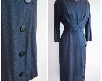 1960s Charcoal grey wool wiggle dress / early 60s winter dress - XXL