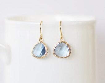 Samantha Earrings - Gold/Dusty Blue