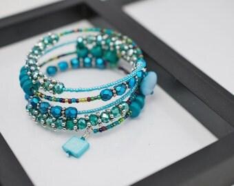 Teal Wrap Bracelet, Teal Memory Wire Bracelet, Beaded Bracelet, Boho Bracelet, Beaded Wrap Bracelet, Teal Bracelet, Free Shipping