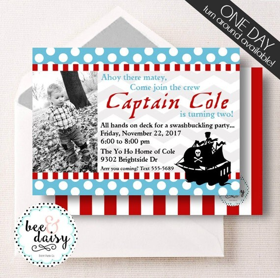 Pirate Invitation Boys Pirate Birthday Party By BeeAndDaisy