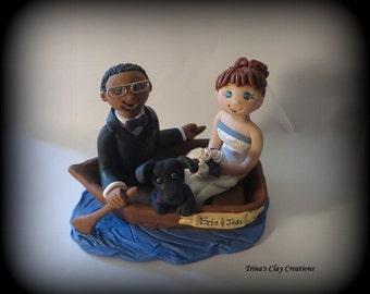 Wedding Cake Topper, Custom Cake Topper, Bride and Groom, Boat, Rowboat, Polymer Clay, Wedding/Anniversary Keepsake