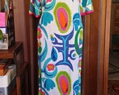 Vintage 60s Alice Polynesian Maxi Dress Bell Sleeves Bold Mod Art S-M