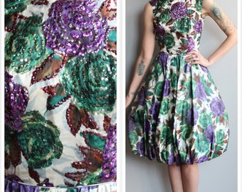 1950s Dress // Silk Dahlia Party Dress // vintage 50s bubble hem dress