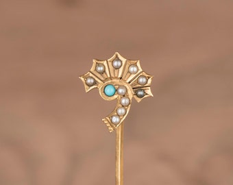 Victorian Fan with Turquoise and Seed Pearls Custom Conversion 10k Gold Stick Pin Ring Earring or Necklace