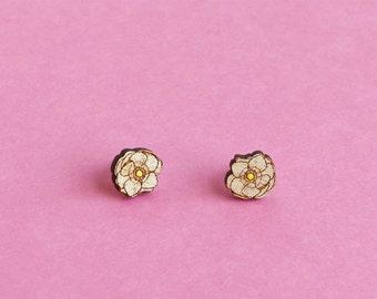 Wooden Poppy Flower Stud Earrings