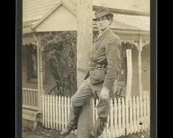 Antique 1800s Cabinet Card Photo ID'd Telegraph Lineman Worker & Equipment
