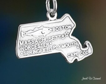 Sterling Silver Massachusetts Charm State America USA Boston Solid 925