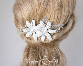 French Beaded Flower Hair Comb, White Wedding hair piece, bridal hair pin, floral hair accessory for brides with freshwater pearls