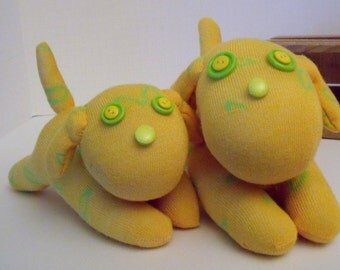 Sock Dog Pair of Parent and Baby Dog Made with Yellow and Green Sock With Button Eyes and Nose with Plush Tail and Ears filled With Pellets