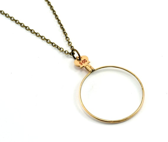 Magnifier Necklace, Monocle Necklace, Magnifying Glass Pendant
