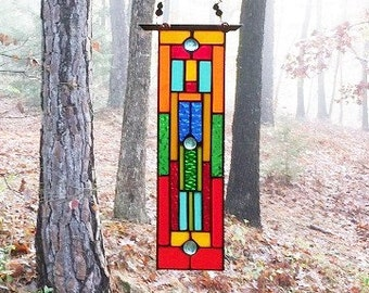 Stylish stained glass panel glass art home and living home decor art glass gift suncatcher window decoration