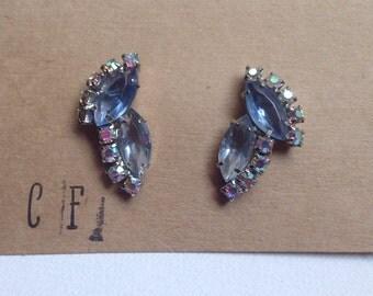 Light Blue Crystal Rhinestone Earrings - Amie