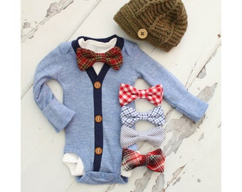 Newborn Baby Boy Coming Home Outfit Set of up to 2 Items. Cardigan Bodysuit, Bow Tie Bodysuit & Knit Newsboy Hat Easter Outfit Tie Onesie