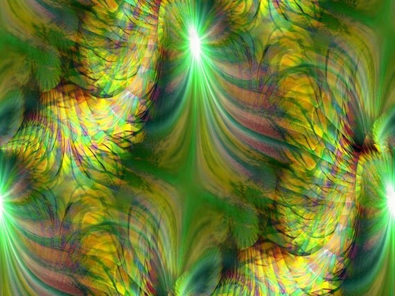 Abstract Art Reiki Healing Energy Art Wall Decor Mother Earth Mossy Green Print