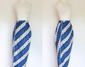 vintage 1950s sarong style maxi skirt / 50s Hawaiian blue floral striped long skirt / S