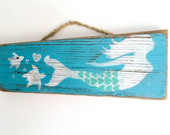 Mermaid Decor Wall Hanging Handpainted on Reclaimed Wood Beach Baby Nursery Beach Kids Room Mermaid Nursery Beach House Wall Art Mangoseed