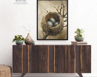 "Large Three Bird Nest Print on Canvas, 30"" x 40"" Canvas Wall Art, Bird's Nest Art Print, Bird Nest Picture, Three Eggs in a Nest  Nature Art"