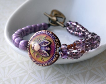 Bee Bracelet, Purple Bracelet, Honeybee Jewellery, Colour Change, Mood Bracelet, Purple Mauve Lilac Bronze, Bee Jewellery UK