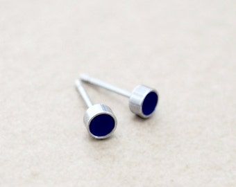 Stainless Steel Earrings - Tiny Silver Studs - Any Enamel Color