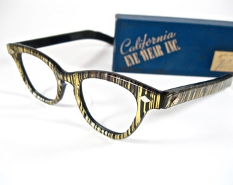 Zebra stripe cat eye glasses. AMAZING striped gold pearlized frames by California Eyewear Inc. New old stock/NOS/deadstock.