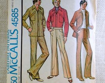 Vintage Pattern McCall's 4585 Men's Leisure Suit pattern Safari suit Chest 46 Waist 42 1970s Anchorman 1975 top stitched Uncut