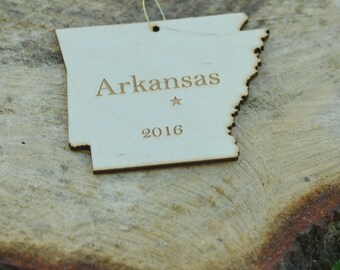 Natural Wood Arkansas State Ornament WITH 2016