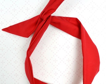 Cute Dolly Bow Bendable Wired Headband - ORGANIC Cotton Fabric GOTS  - Red - 1950s Retro