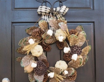 autumn cotton wreath