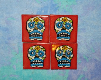 Sugar Skull Tile Dia de los Muertos Day of the Dead Mexican Tile Talavera 2x2