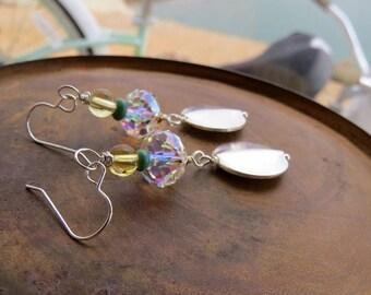 citrine earrings . SOLAR CELEBRATION . Kingman teal turquoise earrings . Swarovski earrings . flashy party earrings . southwestern earrings
