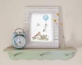 Dachshund Art, Nursery Art, Nursery Print, Dachshunds with Blue Balloon, Nursery Wall Art, Children's Art, New Baby Gift, Baby Shower