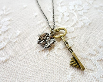 221B sherlock inspired key necklace with miniature typewriter charm, Chapter One