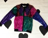 80's 90's allover sequin baseball jacket 1980's 1990's colorblock dazzling windbreaker zip up track jacket / sweatshirt / iridescent / M L