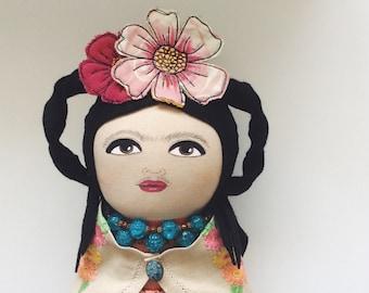 Frida Kahlo - artdoll - handmade doll - silk - Frida doll