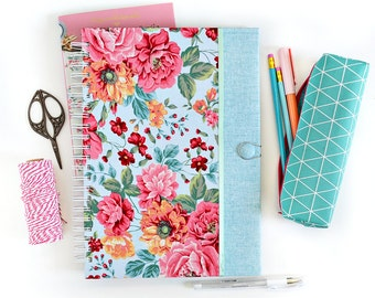 Fabric journal // AMELIE IN BLUE hardcover spiral notebook with floral motif