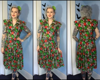 Vintage Floral Womens 1970s Dress Pleated Skirt Autumn Colors 1940s Inspired Pinup Style Size Medium Large