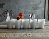 5 Vintage Milk Glass Tumblers / Candle Holders / Yogurt Cups