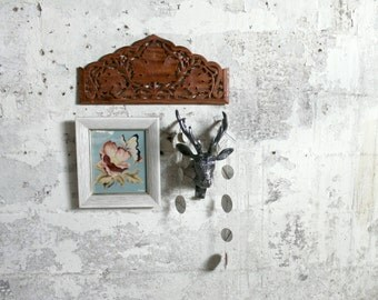 Vintage Hand Carved Teak Panel